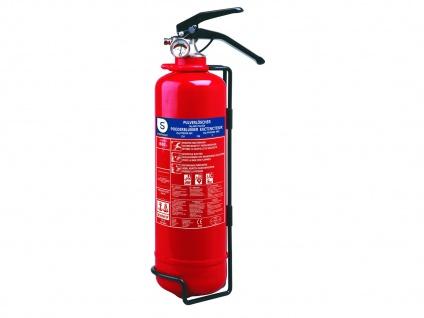 Pulverlöscher Feuerlöscher 2kg, Brandklasse A, B, C, Manometer Halterung - Vorschau 2