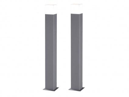 LED Pollerleuchte Titanfarben 80cm - 2er Set Wegeleuchten Terrassenbeleuchtung - Vorschau 2