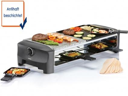 Raclette mit Steinplatte & wendbarer Grillplatte 8 Personen 1300W fettarm garen