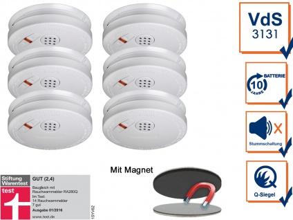 6er Set Rauchmelder 10 Jahre Batterie + Magnethalterung mit VdS & Q-Siegel