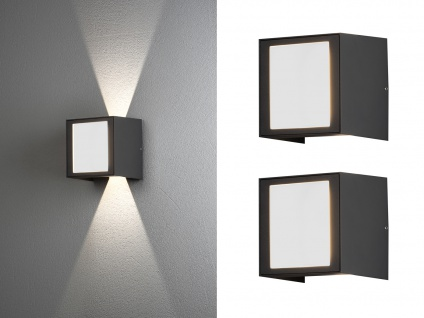 2er SET Terrassenleuchten aus ALU für außen in anthrazit LED Fassadenbeleuchtung