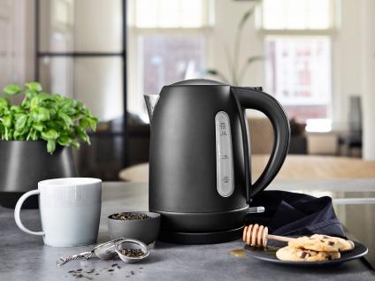 Design Wasserkocher Edelstahl in schwarz 1, 7l 2200 Watt - elektrischer Teekocher