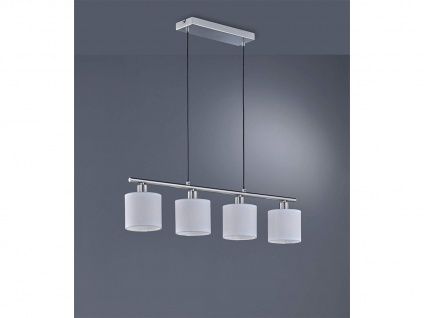 Schöne Pendelleuchte 4 flammig mit Stoff Lampenschirm in Weiß für Esszimmertisch