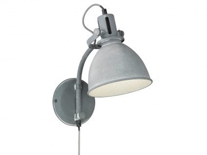 Retro LED Wandleuchte Schnurschalter Betonfarbig verstellbar Designleuchte Büro