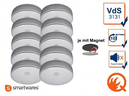 10er SET Rauchmelder 10 Jahres Batterie, VdS & Q-Siegel mit EASY Magnetmontage