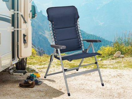 ALU Campingstuhl Hochlehner verstellbar & klappbar Klappliegestuhl + Sitzauflage - Vorschau 4