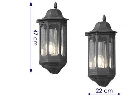 2er Set Außenwandleuchte Alu schwarz, E27, Wandleuchte Hauswand Terrasse Lampe - Vorschau 2