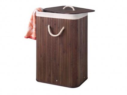 Bambus Holz Wäschekorb faltbar mit Wäschesack, eckig, braun, Wäschesammler - Vorschau 2