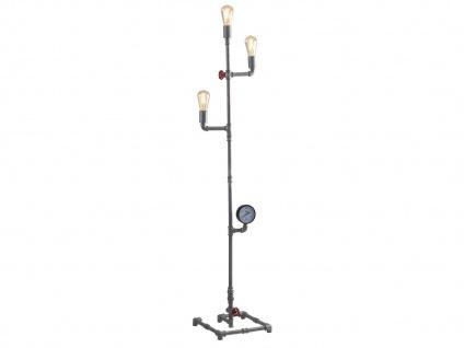 Mehrarmige LED Stehlampe 3 flammig Industrial Design mit Wasserrohr Zink antik
