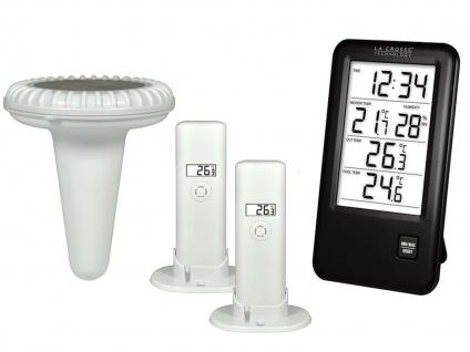 Pool Thermometerset für Wassertemperatur + Innen-/ Außentemperatur + Luftfeuchte