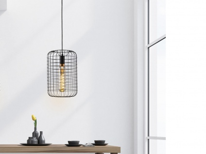 Vintage Pendelleuchte TITUS - Gitterlampe Lampenschirm schwarz im Industrielook