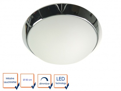 LED Deckenleuchte Opalglas matt, Dekorring Chrom, Ø 50cm Bürobeleuchtung