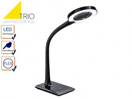 LED Schreibtischlampe LUPO schwarz mit Lupe, Tischleuchte mit 3-fach Touchdimmer