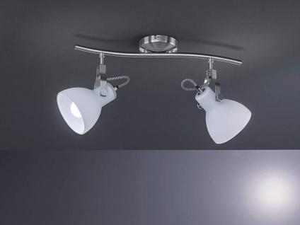 Coole Designer LED Strahlerleiste mit 2 dreh+schwenkbaren Spots in Nickel matt - Vorschau 1