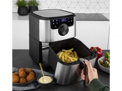 Edelstahl XXL Heißluftfritteuse Umluft Friteuse Pommes ohne Öl 4, 5L 1500Watt - Vorschau 2