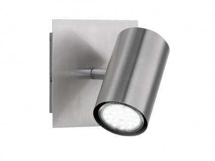 Dimmbarer Innen LED Wandstrahler aus Silber mattem Metall mit schwenkbarem Spot