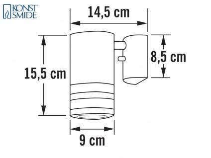 Wandleuchte MODENA Aluminium schwarz, Downlight, GU10, Höhe 15, 5 cm - Vorschau 5