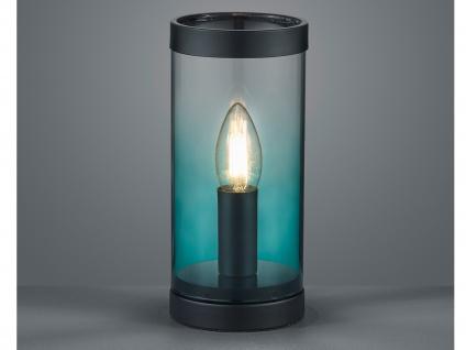 Kleine ausgefallene Glas Tischleuchte Zylinder Tischlampe Nachttischlampe Türkis