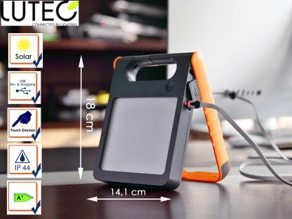 Universal LED Solarleuchte mit USB Ein- & Ausgang dimmbar IP44 H. 18cm Orange