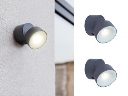 2 kleine runde LED Außenwandleuchten mit 90° drehbarem Kopf ALU Anthrazit 8, 7cm?