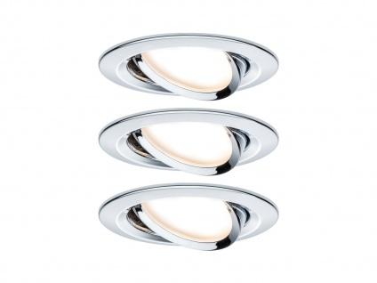 3 LED Einbaustrahler Decke rund Ø 8, 4 cm schwenkbar dimmbar Chrom glänzend 6, 5W