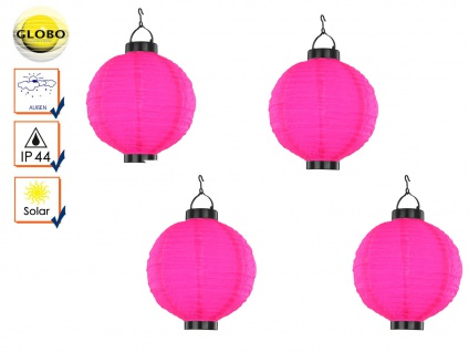 4er Set LED Solarleuchten Lampion rosa pink 25, 5cm, Beleuchtung Terrasse Garten