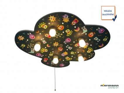 LED Kinder Deckenleuchte coole ALIENS mit Zugschalter LED-Schlummerlicht Sterne