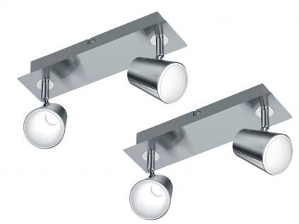 LED Wandstrahler Nickel matt 2er Set Spots schwenkbar 12W - Wohnraumeuchten