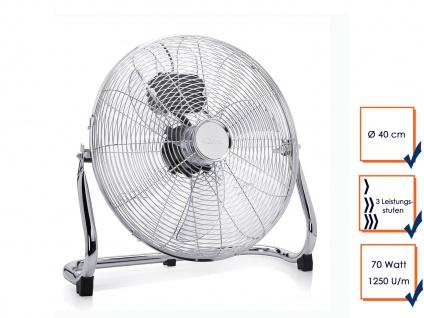 Ventilator in Chrom Ø 40cm 3 Stufen 70W Lüfter Boden Tisch Ventilator Klima