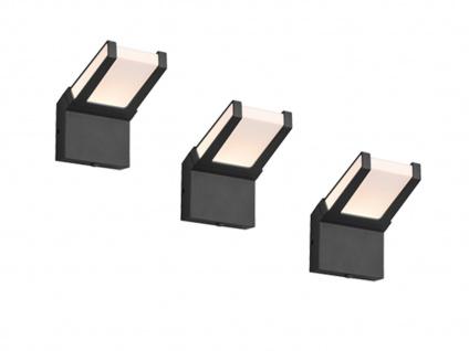 Moderne LED Außenleuchten im 3er SET - Clean Cut Wandlampen mit Dämmerungssensor