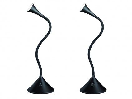 2er SET flexible 2in1 Tischleuchte, Wandleuchte biegsam Schwarz für Schreibtisch