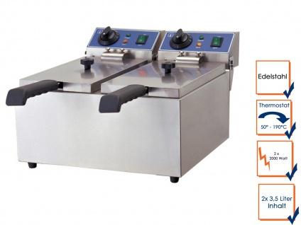 Gastro Doppel Fritteuse 2x 2000 Watt, Elektro Edelstahl Profi Fritteuse Friteuse