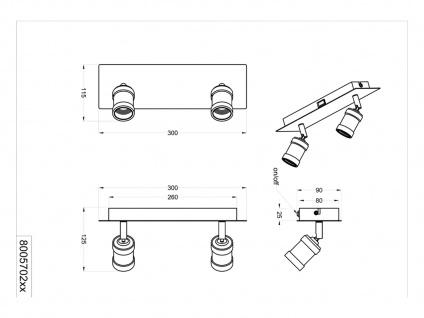 Moderner Wandstrahler für den Innenbereich mit 2 schwenkbaren E27 Spots Silber - Vorschau 5