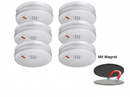 6er Set Rauchmelder 10 Jahre Batterie + Magnethalterung mit VdS & Q-Siegel - Vorschau 2