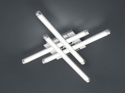 LED Deckenleuchte 4 flammig Weiß Chrom flache Küchendeckenlampe 7x50x50cm