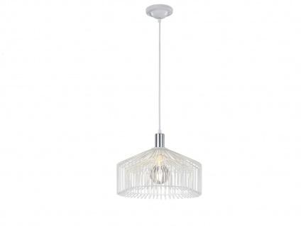 Retro Pendelleuchte Weiß Chrom mit E27 LED, Design Hängelampe Pendel Wohnraum