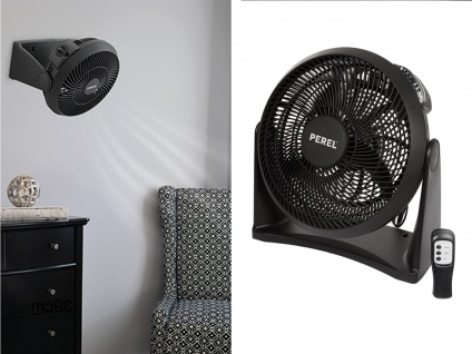 Wandventilator Tischventilator mit Fernbedienung & Timer schwarz Ø30cm fürs Büro