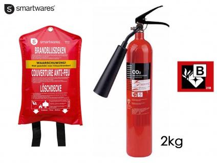 Set: CO2-Feuerlöscher 2 Kilogramm, Brandklasse B + Löschdecke Brandschutz
