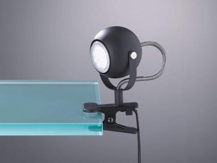 Schwenkbare LED Klemmleuchte Klammerleuchte Spot 1 flammig Metall schwarz matt