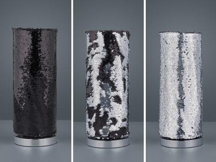 Moderne LED Tischleuchte mit Pailletten Zylinder Ø15cm 40cm hoch, Silber/Schwarz