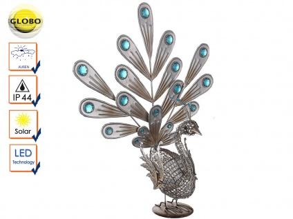 Globo LED Solarleuchte Design Pfau, Gartengestaltung mit Solarlampen Außenlampen