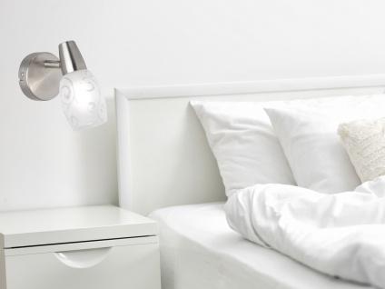 LED Wandstrahler Deckenspot 1 flammig matt Silber Dekorglas satiniert, Höhe 15cm