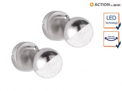 2er Set LED Wandleuchte Spot schwenkbar Nickel matt 4, 5W Wandstrahler Wohnzimmer