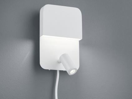 LED Wandstrahler aus matt weißem Metall mit mehreren Lichtquellen & Schalter, A+