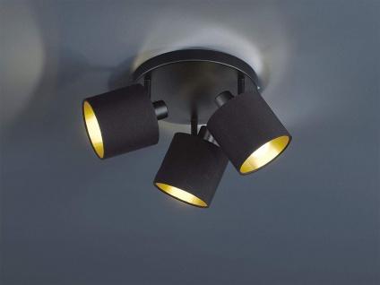 LED Deckenstrahler schwenkbar 3 flammig mit Stoffschirm in schwarz gold Wandspot
