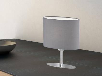 Designklassiker: Schöne Tischleuchte Silber mit ovalem Lampenschirm Stoff Grau