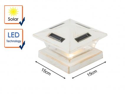LED Garten Solarlampe für Zaunpfost, Terrassenbeleuchtung, Balkongeländer, weiß - Vorschau 3