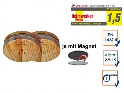 2er SET Rauchmelder Holzoptik mit EASY Magnethalterung, Feuermelder Feueralarm