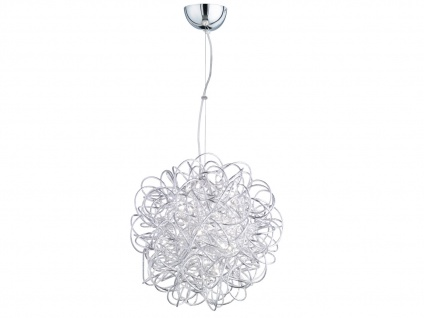 LED Hängeleuchte Silber Ø 43cm, Esstisch Lampe Pendelleuchte Wohnzimmer Flur