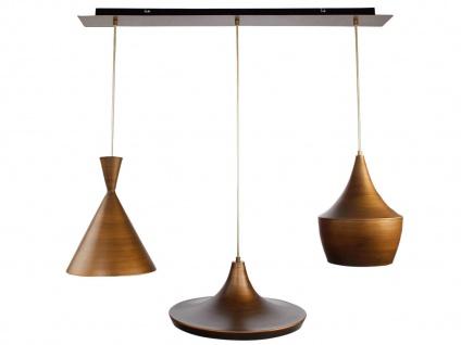 Vintage LED Pendelleuchte mit 3 Metall Schirmen in Braun - Design Esstischlampen - Vorschau 1